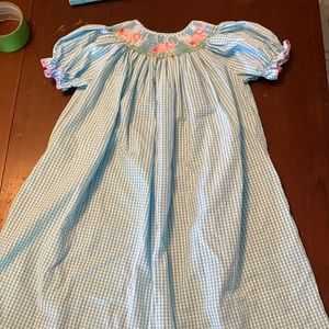 Blue Gingham Smocked Dress with Pink Elephants